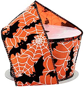 """Bats & Webs Halloween Wired Ribbon - 2 1/2"""" x 10 Yards, Orange & Black, Bows, Wreath, Party Decor, Trick or Treat, Haunted House, Fundraiser, Classroom, Daycare"""