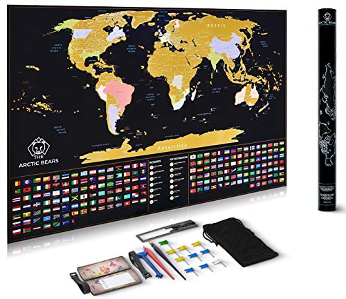 XL Scratch Off map of The World Poster + Premium Luggage Tags - Deluxe Edition XL Detailed Travel map with USA States and Flags, Perfect Gift for Travelers 33