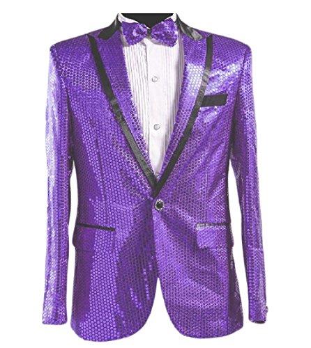 Kankanluck Men's Wedding Two Piece Nightclub Sequin Shiny Blazer Suit Jacket Purple L