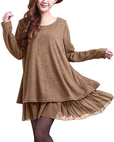 ZANZEA Womens Fashion Long Sleeve Round Neck Loose Casual Mini Dress Khaki 6 (Fashion Ladies Long Sleeve)