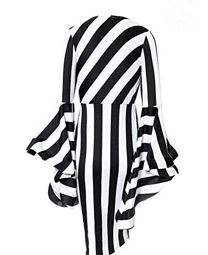YUHENG Black Dress Sleeve and Elegant Fashionable Irregular Stripes Round 2XL White Neck Horn and Large Long rwI6vr