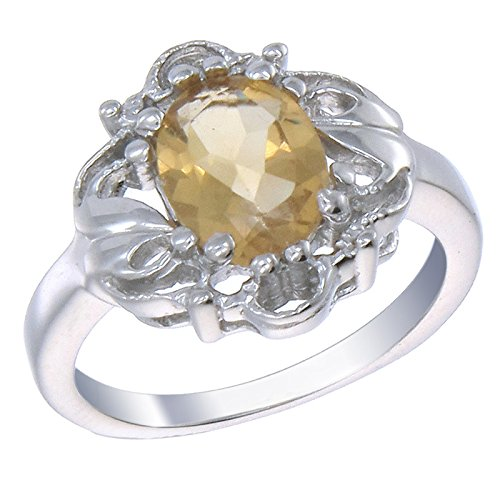 (1.60 CT Citrine Filigree Ring .925 Sterling Silver Size)