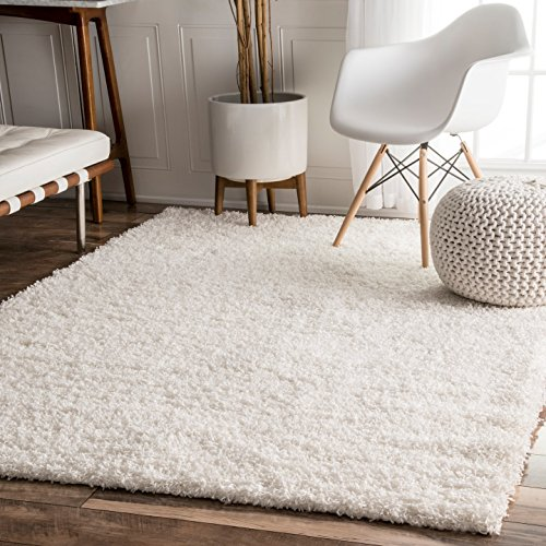 nuLOOM Bobo Shag Collection 100-Percent Polypropylene Area Rug, 8-Feet by 10-Feet, Shag, White by nuLOOM