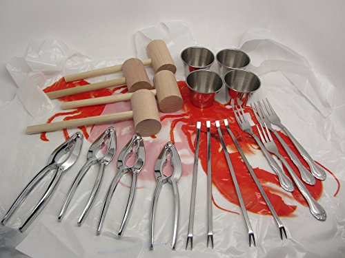 24pc Lobster Bake Crab Shellfish Seafood Tool Kit Metal Crackers Picks Forks Mallets Bibs by UJ Ramelson Co