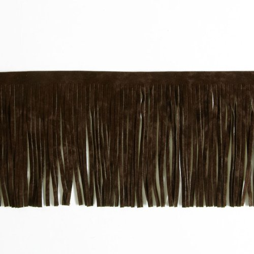 - Expo International 4in Faux Suede Fringe Trim Brown,