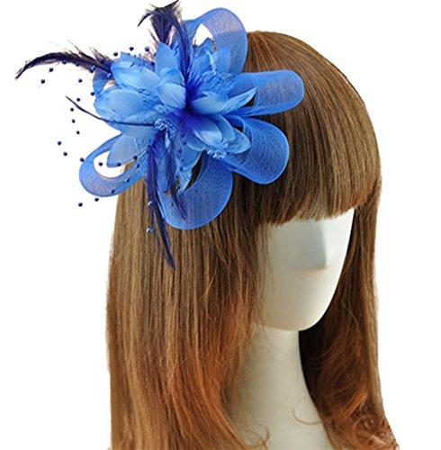 Coolr Fascinator Hair Clip Cocktail Headwear Flower Bridal Headpieces (Blue ) (Cute Flapper Costumes)