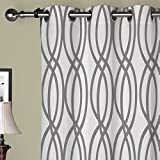 IYUEGO Artistic Light Grey Curves Grommet Top Lined Blackout Curtains Draperies With Multi Size Custom42 W x 84″ L (One Panel) For Sale