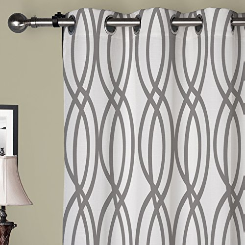 (IYUEGO Artistic Light Grey Curves Grommet Top Lined Blackout Curtains Draperies With Multi Size Custom100 W x 102