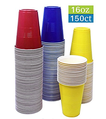 TashiBox 16 oz Assorted Colors Disposable Hot and Cold Plastic Cups, 16oz-150, Red/Blue/Yellow ()