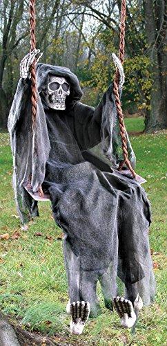 Fun World Men's Swinging Skeleton Dead Reaper, Black Standard