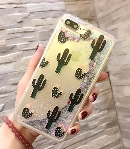 iPhone 8 Plus/iPhone 7 Plus Case(5.5inch),Blingys Cool Flowing Liquid Glitter Style Plastic Hard Case for iPhone 8 Plus/iPhone 7 Plus (Silver Cactus)
