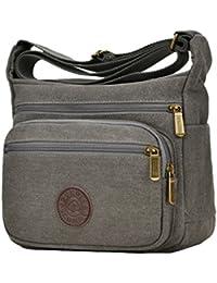 89428eb7d9 Casual Bags Shoulder Bag Cross Body Canvas Multi Zippers Messenger Bags