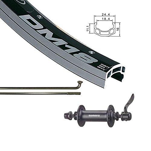 Alex Bicycle Rims - The Wheel Shop Front 26'' Wheel Alex DM-18 Black / HB-RM70 Black 36 Stainless Spokes- QR Axle