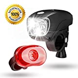 SAMLITE Best Brightest LED Bike Light Set for Kids & Adults, Super Bright Bicycle Headlight, Free Tail Light Included, Water Resistant Bike Light, Easy To Install, Multiple Modes for Cycling Safety