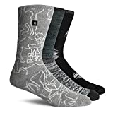 Richer Poorer Men's Midweight Crew Socks -- One Size (3 Pairs Mixed Pack in Black, Grey, & White)