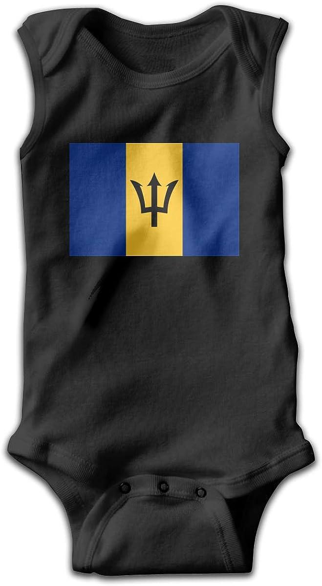 UyGFYytg Flag of Barbados Baby Newborn Crawling Suit Sleeveless Onesie Romper Jumpsuit Black