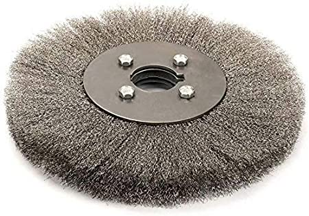 3 Inch Flat Stainless Steel Crimped Bench Grinder Wire Wheel Brush with 6mm Arbor for Angle Grinder Derusting Cleaning And Surface Polishing