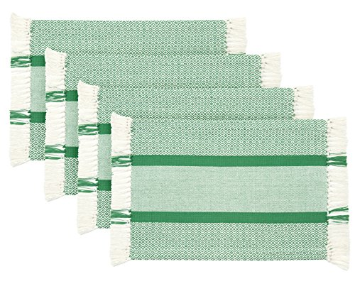 Sticky Toffee Cotton Woven Placemat Set with Fringe, Traditional Diamond, 4 Pack, Green, 14 in x 19 ()