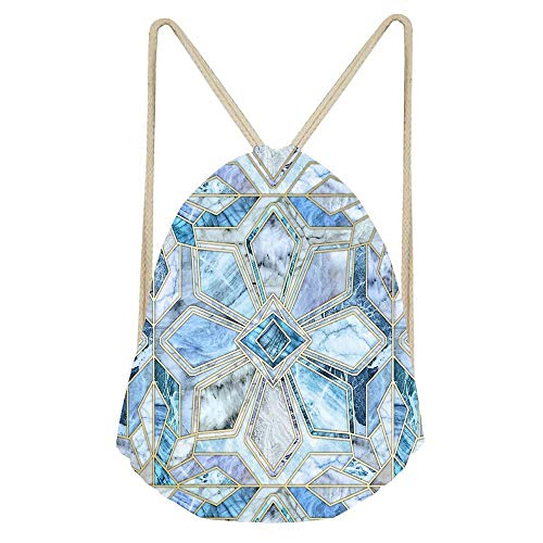 Geometric Gilded Stone Tiles In Soft Blues Drawstring Bag Gym Bag Sport Backpack Shoulder Bags Travel College Rucksack for Women Men