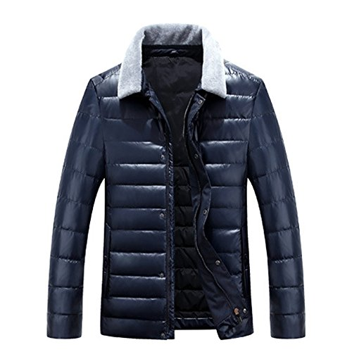 LUOTIANLANG Young PU skin short jacket, high quality winter thickening down jacket, men's fashion warm coat Blue