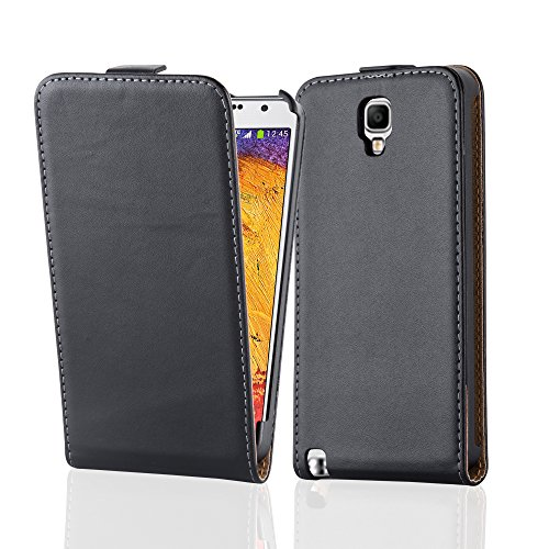 Cadorabo Case works with Samsung Galaxy NOTE 3 NEO in CAVIAR BLACK (Design FLIP SMOOTH) – with 2 Card Slots – Case Etui Cover Pouch PU Leather Flip