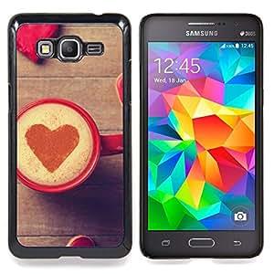"""Corazón del amor del café"""" - Metal de aluminio y de plástico duro Caja del teléfono - Negro - Samsung Galaxy Grand Prime G530F G530FZ G530Y G530H G530FZ/DS"""