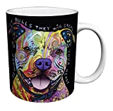 Dean Russo Dog Pit Bulls Steal Your Heart Quote Modern Animal Art Porcelain Gift Coffee (Tea, Cocoa) Mug, 11 Ounce