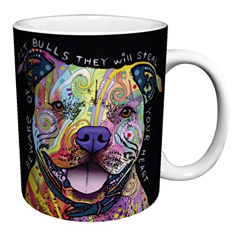Dean Russo Dog Pit Bulls Steal Your Heart Quote Modern Animal Art Porcelain Gift Coffee (Tea, Cocoa) Mug, 11 Ounce (Mugs Decorative Coffee)