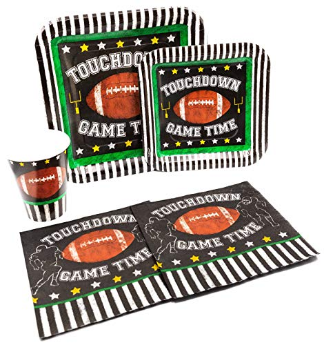 Touchdown Game Time Pack! Disposable Paper Plates, Napkins and Cups Set for 15 (With free extras)