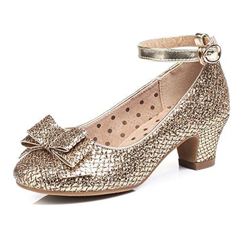 Alicorn Girl's Gold Glitter Low Heel Ankle-Strap Dancing Dress Shoes 2.5 M US Little Kid -