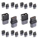 Amass XT60H XT60 Bullet Connector Plug Upgrated XT60 Sheath Female & Male Black Plated RC Lipo Battery ESC(10 Pairs)