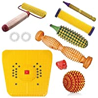 Ramdev Acupressure Wooden Foot Roller Acupressure Magnetic Stress Mat Combo Kit