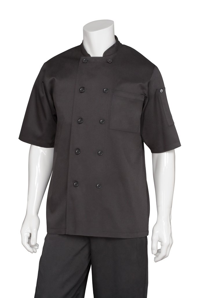 Chef Works Men's Chambery Chef Coat, Black, 2X-Large