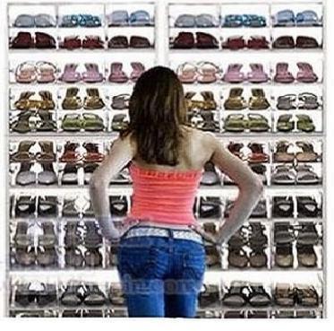Amazon.com: 12 paquete de plástico transparente de almacenamiento de calzado Cajas Transparentes de contenedores para los zapatos Organización Closet: ...