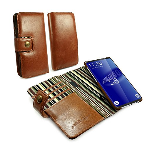 Alston Craig Thin Vintage Genuine Leather Magnetic Wallet Case Cover for Samsung Galaxy S8 Plus – Brown