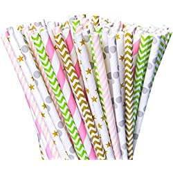 Besteek 150 Pack Biodegradable Paper Straws, Party Pink Straws, Decorative Cute Straws for Party, Birthday, Weddings etc.