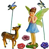 Mood Lab Fairy Garden - Miniature Accessories Figurines Kit - Hand Painted Deer Set of 7 pcs Outdoor House Decor