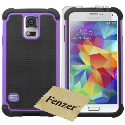 Fenzer Purple Hybrid Rubber Matte Hard Case Cover for Samsung Galaxy S5 S 5 V and Screen Protector (Rubber Cover Case Film)