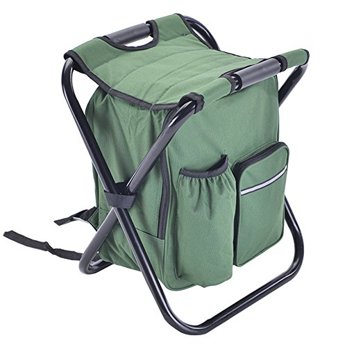 A.B Crew Portable Folding High-Intensity Steel Weight Supported Backpack Mazar Stool Chairs with Insulated Cooler Compartment Bag for Fishing Camping(Green)