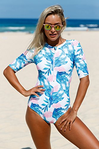e6eb3350f31 Aleumdr Womens Sexy Zip Front Printed Half Sleeve One Piece Swimsuit Rash  Guard Swimwear Color Blocked