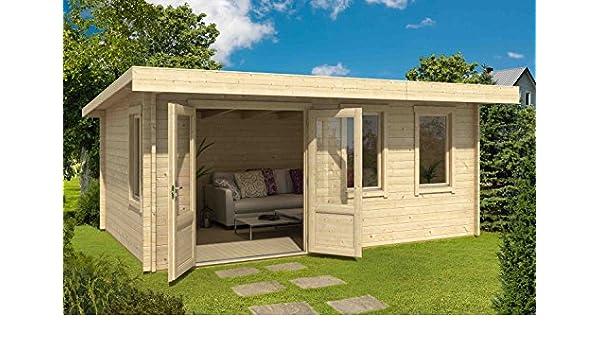 Gartenhaus G226 - Caseta de jardín con suelo y listones de 40 mm de diámetro (16,16 m2, tejado a granel): Amazon.es: Bricolaje y herramientas