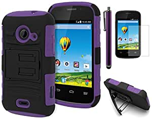 Prelude 2 (Zinger) Case - Bastex Heavy Duty Protective Kickstand Holster Case - Soft Purple Silicone Cover with Black Hard Kickstand Case with Holster for ZTE Prelude 2 (Zinger) Z667**INCLUDES SCREEN PROTECTOR AND STYLUS**