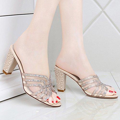 grueso de Oro mujer Verano de para Sandalias Color tamaño pantuflas Sandalias Sandalias alto de Color Tamaño EU36 y tacón Zapatos de tacón tacón UK3 mujer de alto Zapatillas 5 Oro opcional hilo OznTFOrwx