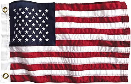 Boat Flag 12x18 inch American Flag | Marine Grade Nylon US Yacht Flag for Boating - All Weather Fade Resistant Material, Brass Grommets, Embroidered Stars, and Sewn Stripes | Made in USA