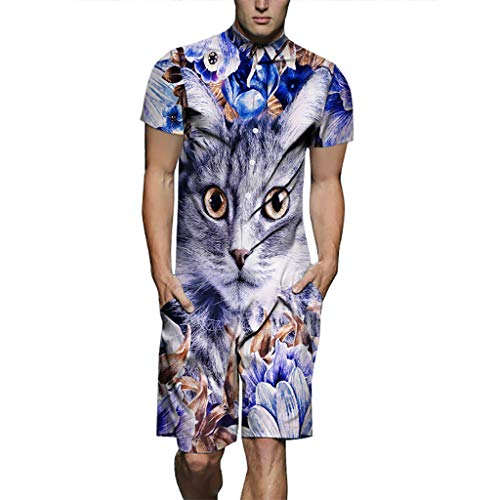 Lefthigh Men's Printed Cat Siamese Set Trendy Short Sleeve Summer Casual Fashion Fitted Suit Pet for $<!--$17.74-->