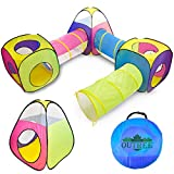 ROPODA 6PC Children's Playhouse Kids Play Tents 3 Crawl Tunnels and 2 Cubic Play Tents, 1 Triangle Play Playhouse Tent for Boys, Girls, Babies, and Toddlers with Zipper Storage for Indoor & Outdoor