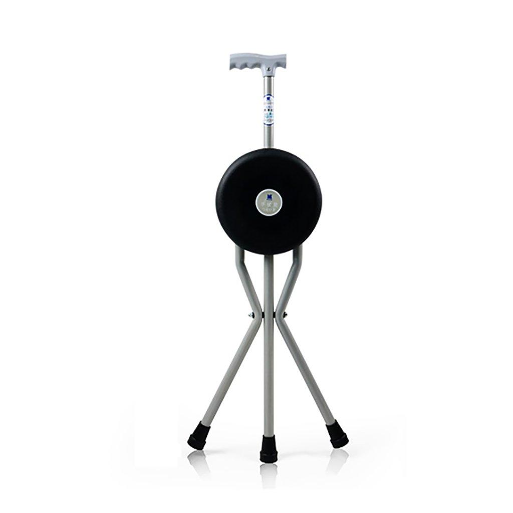 NUBAO ウォーキングスティック高齢者折り畳み式椅子/スツール松葉杖アルミウォーカーTハンドル黒長さ84(33.07インチ)パネル直径22cm (サイズ さいず : One) B07CQMZ342 One