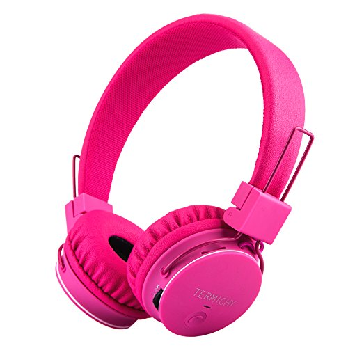Kids Bluetooth Headphones Foldable Volume Limiting Wireless/Wired Stereo On Ear HD Headset with SD Card FM Radio in-line Volume Control Microphone for Children Adults (Pink)