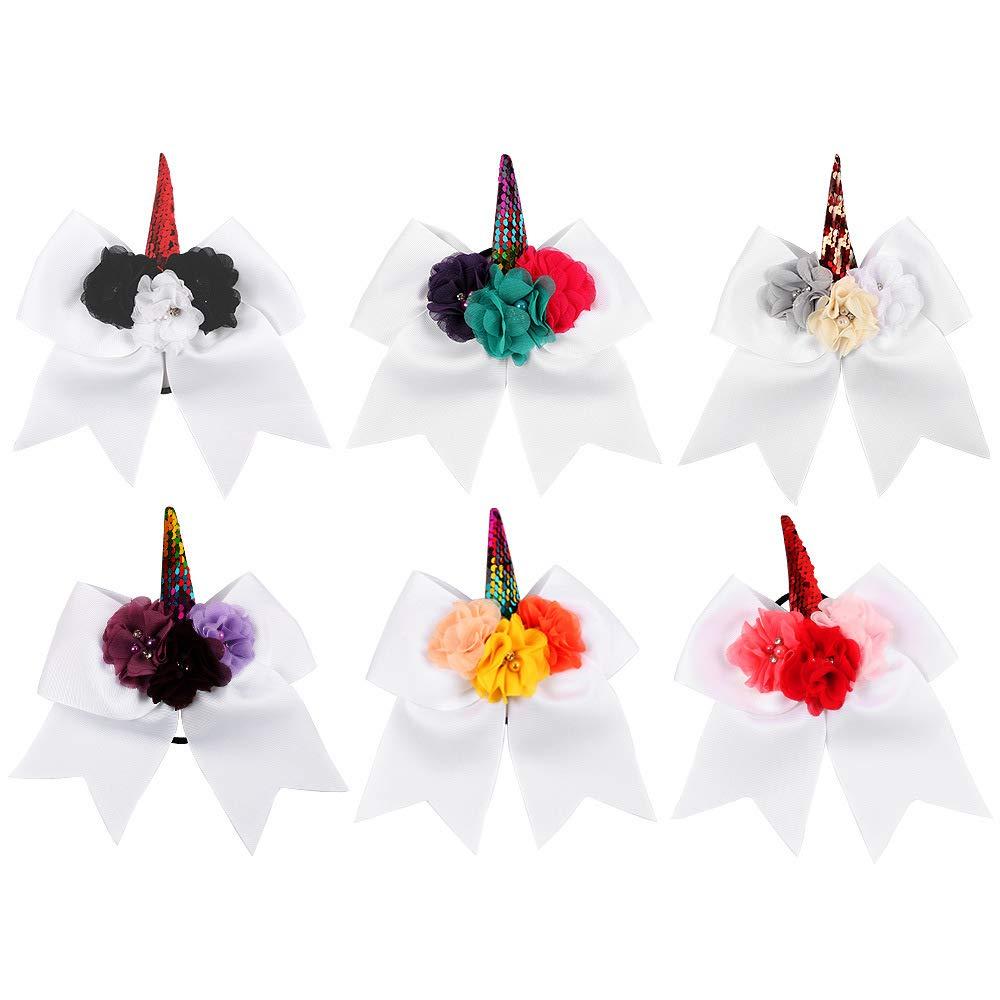 Sinobi 6Pcs Large Hair Bows Unicorn Grosgrain Bows Sequin Sparkly Glitter Girls Women Kids (Unicorn White Bows)