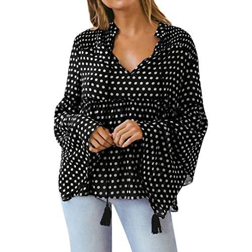 Taille Tonsee Haute Shirt col Femme Chemises Noir Tops Manches Manches Pois Longues V Fashion T vases Blouse rCrqwAPv